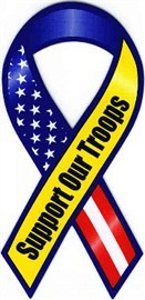 """Red White Blue Support Our Troops Large Ribbon Magnet 4"""" x 8"""""""