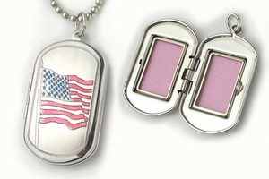 Sterling Silver American Flag Dog Tag Locket
