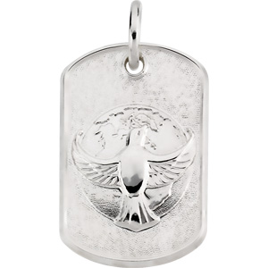 Sterling Silver Dove Tag Pendant