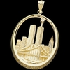 Sterling Silver New York City Skyline Pendant With Diamond
