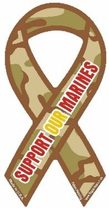 """Support Our Marines Camouflage Extra Large Ribbon Magnet 5"""" x 11"""""""