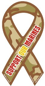 "Support Our Marines Camouflage Mini Static Decal 2"" x 4"""