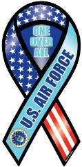 """U.S. Air Force Ribbon Magnet- One Over All 4"""" x8"""""""