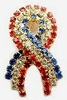 USA Rhinestone Ribbon Pin