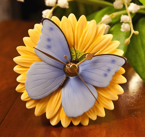 Blue Butterfly Clock Ibis and Orchid Design