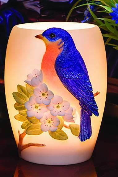 Bluebird on Cherry Blossoms Memory Lamp
