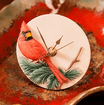 Cardinal Flower Clock Ibis and Orchid Design