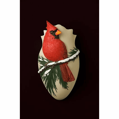 Cardinal On Pine Wall Vase