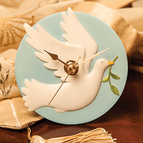 Dove with Branch Clock Ibis and Orchid Design