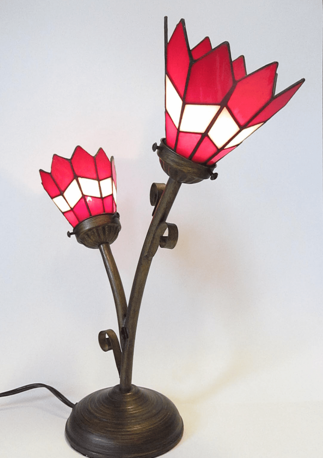 Red/White Double Tiffany Memory Lamp