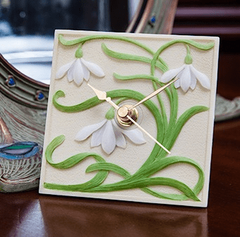 Snowdrops Clock Ibis and Orchid Design