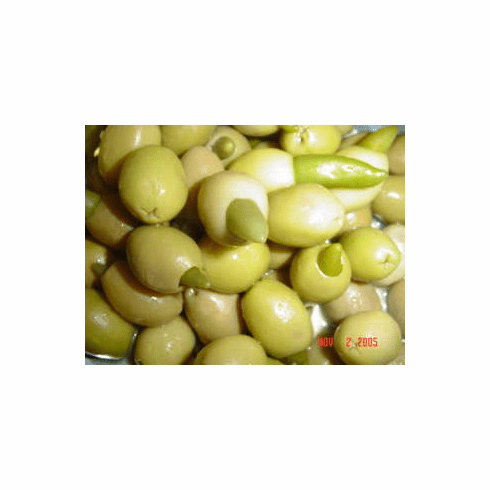 GREEN OLIVES STUFFED WITH CHILI PEPPER