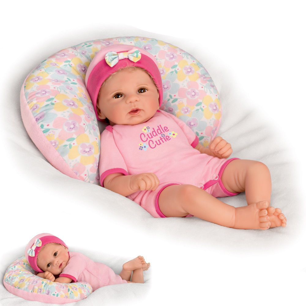 Ashton Drake Violet Parker 17 Cuddle Cutie Baby Doll With Pillow So