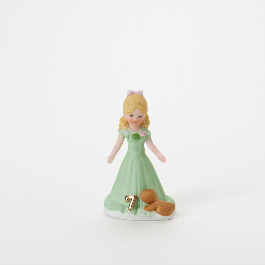 Growing Up Girls Porcelain Birthday Blonde Age 7 Cake Topper 34