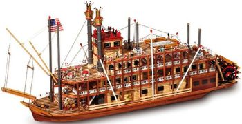 Paddler-Wheeler Spirit of Mississippi Wood Model Ship Display Kit #14003