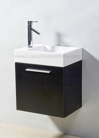 "ALEXIUS - 20"" x 14"" Narrow Black Vanity Sink"