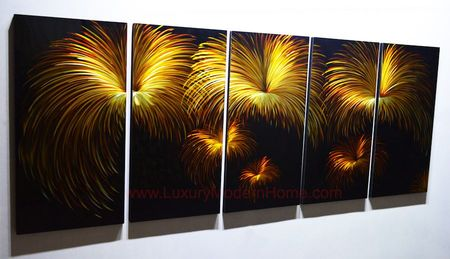 "Fireworks - 24"" x 60"" Metal 3D Wall Art - 5 Piece Art"