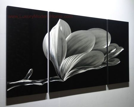 "Flower - 24"" x 48"" Metal 3D Wall Art - 3 Piece Art"