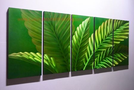 """Peace Lily Leaves - 24"""" x 60"""" Metal 3D Wall Art - 5 Piece Art"""