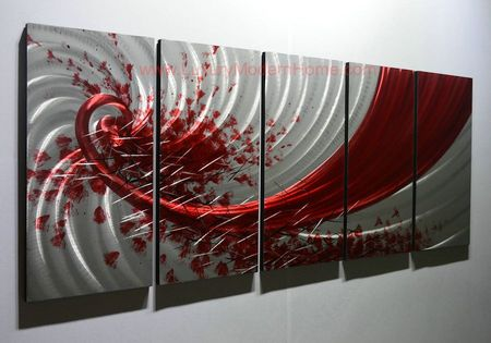 "Red Trail - 24"" x 60"" Metal 3D Wall Art - 5 Piece Art"