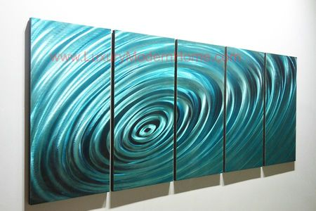 "Ripple Effect - 24"" x 60"" Metal 3D Wall Art - 5 Piece Art"