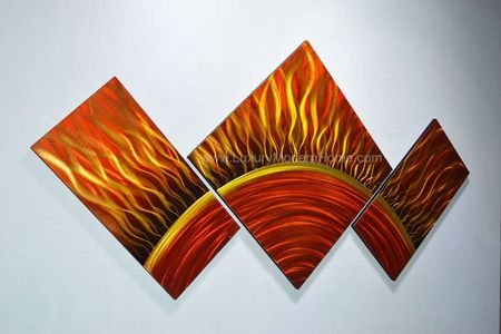 "Solar Sun - 24"" x 48"" Metal 3D Wall Art - 3 Piece Art"