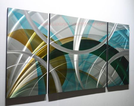 "Sound Waves - 24"" x 48"" Metal 3D Wall Art - 3 Piece Art"
