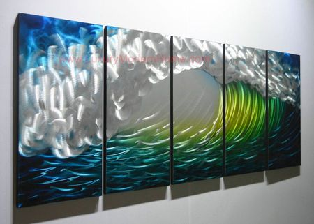 "Tidal Wave - 24"" x 60"" Metal 3D Wall Art - 5 Piece Art"