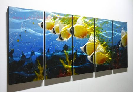 "Tropical Butterfly Fish 2 - 24"" x 60"" Metal 3D Wall Art - 5 Piece Art"