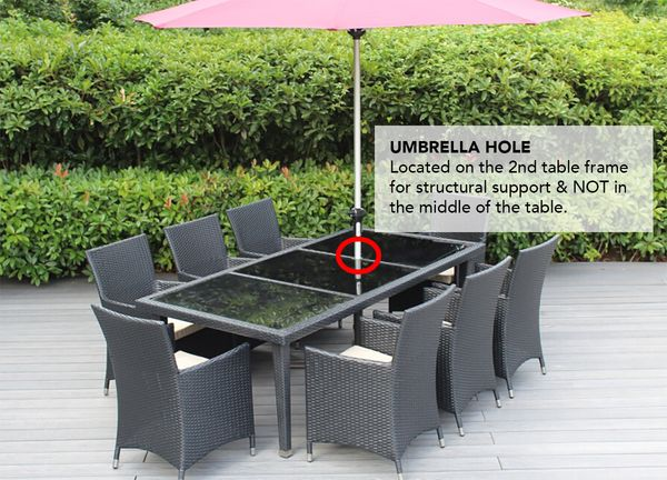 Beautiful Outdoor Patio Wicker, Outdoor Patio Table And Chairs With Umbrella Hole
