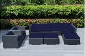 Ohana 10 Piece Outdoor Patio Wicker Furniture Deep Seating Sectional Set