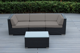 Ohana 4-Piece Outdoor Patio Wicker Furniture Love Seat with Coffee Table