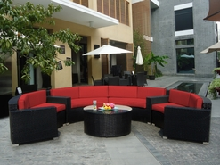 Ohana 5 Piece Outdoor Patio Wicker Furniture Round Circular Sofa Sectional Lounge Set