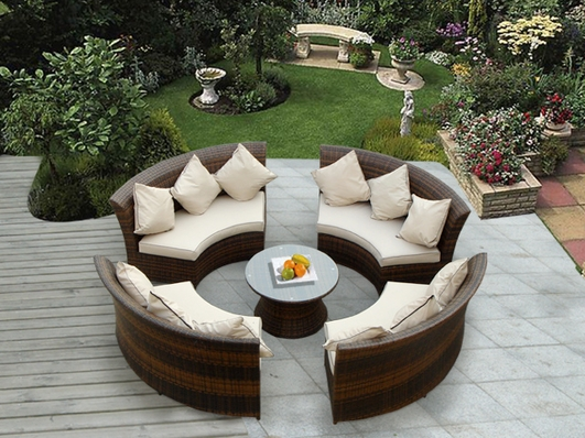 Ohana 5 Piece Outdoor Patio Wicker Furniture Round Seating Group