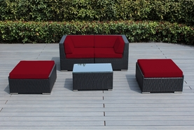 Ohana 5-Piece Set Outdoor Patio Furniture Set  with Loveseat and 2 Ottomans