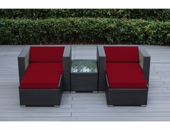 Ohana 5-Piece Outdoor Patio Furniture Set with 2 Club Chairs & Ottomans