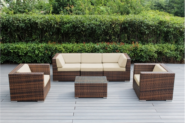 Beautiful Outdoor Patio Wicker Furniture Deep Seating 6pc Couch Set New
