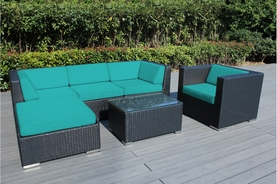 Ohana 6 Piece Outdoor Patio Wicker Furniture Sectional Set