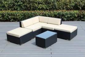 Ohana 6 Piece Outdoor Patio Wicker Furniture Sectional with Ottoman