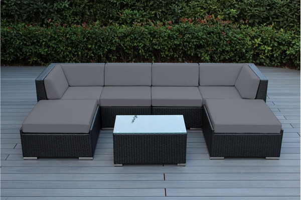 Outdoor Wicker Patio Furniture 7 Piece Sectional Backyard Conversation Set  Gray. 1