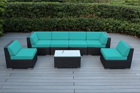 SPECIAL - Ohana Outdoor Patio Wicker Furniture 7-Piece Sectional Set with Sunbrella Options