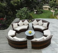 Ohana 7 Piece Outdoor Patio Wicker Furniture Round Seating Group with 2 Ottomans