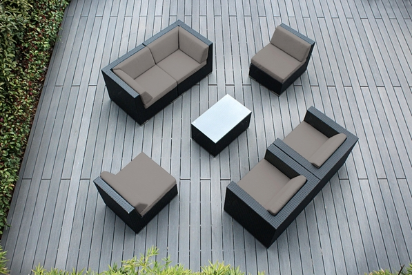 Ohana 7 Piece Outdoor Patio Wicker Furniture Sectional Conversation Set