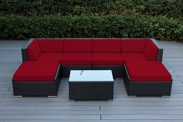 Outdoor Wicker Patio Furniture 7-Piece Sectional