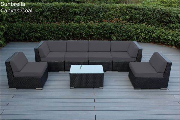 Special Ohana Outdoor Patio Wicker Furniture 7 Piece Sectional Set With Sunbrella Options