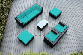 Ohana 8 Piece Outdoor Patio Wicker Furniture Sectional Set with Club Chairs