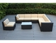 Weekly Deal: Ohana Outdoor  Patio Furniture 8 Piece  Sectional Conversation Set Gray Wicker.