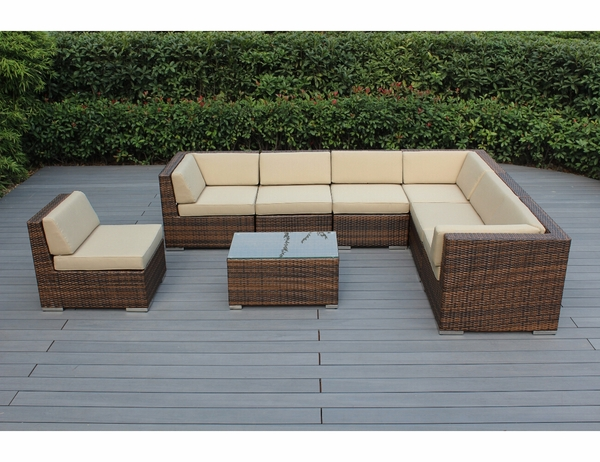 Gorgeous Outdoor Patio Furniture Deep Seating 8 Pc Couch