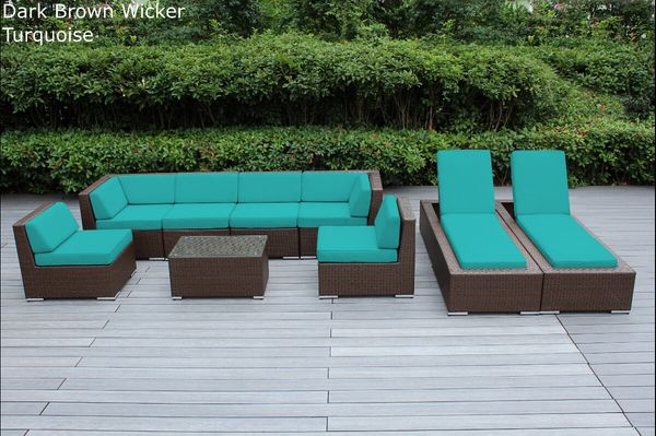 Ohana Outdoor Patio Wicker Furniture 9-Piece Sofa and Chaise ...