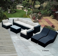 Ohana 9 Piece Outdoor Patio Wicker Sofa and Chaise Set